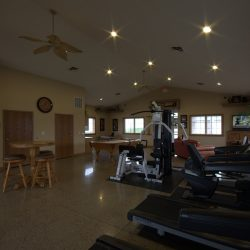 A Lincoln apartment complex club house with gym equipment.