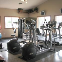 The workout room at an apartment complex with treadmills and ellipticals.