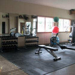 An image of the weight room and equipment at a Lincoln apartment complex.