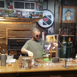 Glass blowing in