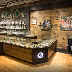 Interior shot of Witch Dr. Glass Blowing Studio in Massachusetts