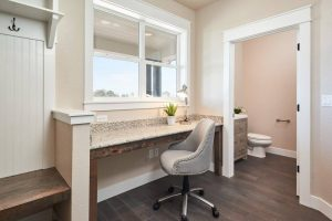 front entryway desk and toilet