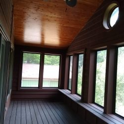 cedar ceiling over new deck