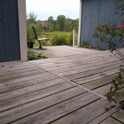 old wooden panel decking