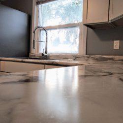 white marble countertop