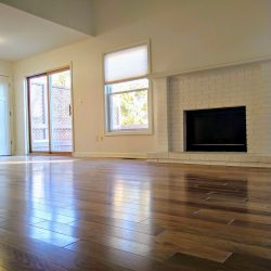 hardwood flooring and fireplace
