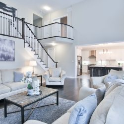 living room staircase in white tones