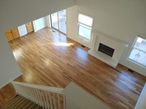 looking down on new wood floors