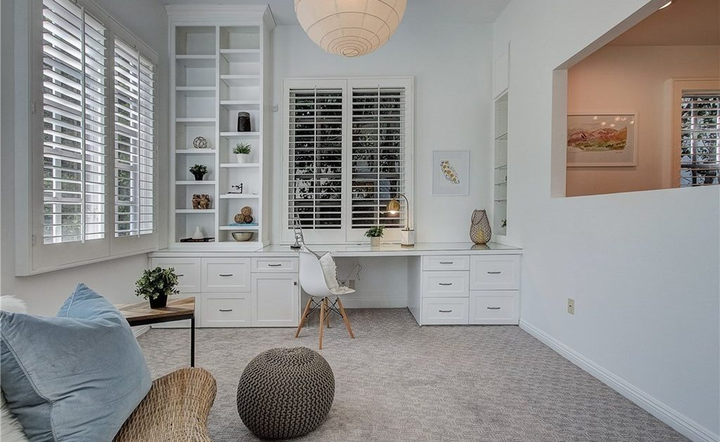 home office, carpeted, look-through wall