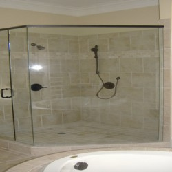 A simply massive shower is one focal point for this Chicago bathroom remodel by Home Services Direct.