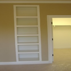 Built in shelves maximize the space in this home remodeling project by Home Services Direct in Chicago.