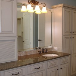 Storage abounds in this beautiful Chicago bathroom remodeling project by Home Services Direct.