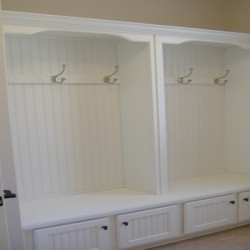 This gorgeous mudroom storage solution was done by Chicago contractors Home Services Direct.