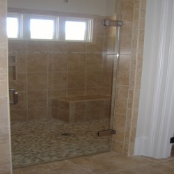 A huge shower complements this Chicago bathroom remodel by Home Services Direct.