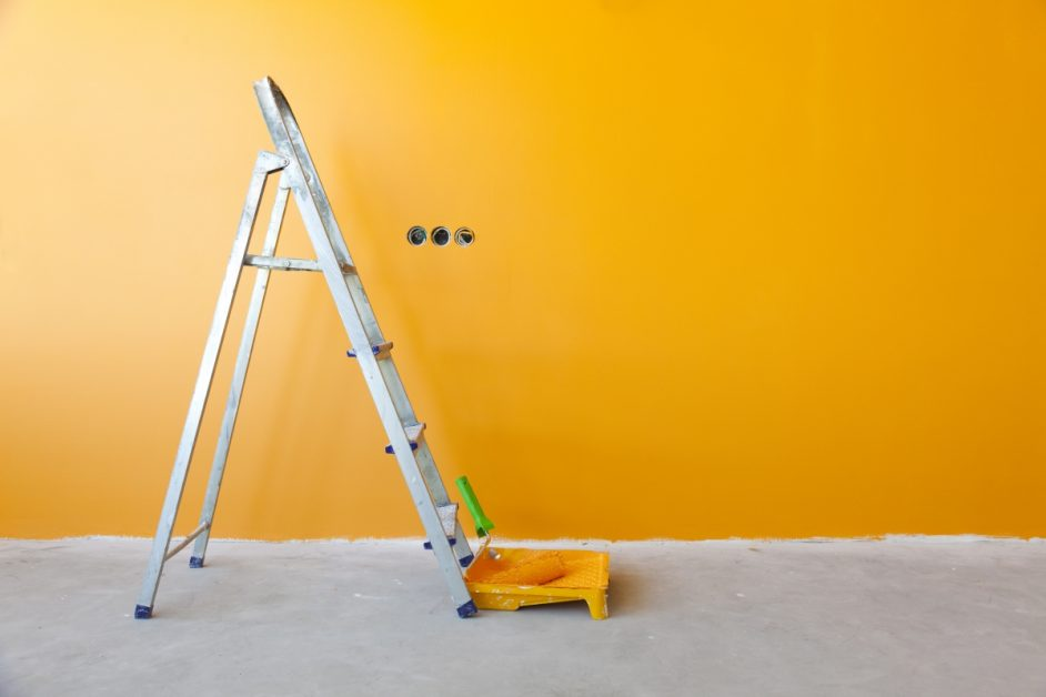 Wall With New Coat of Orange Paint