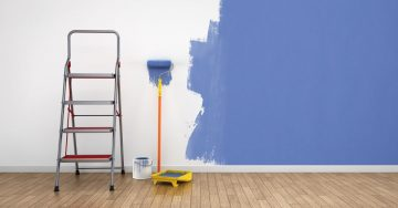 Unfinished Blue Painted Wall