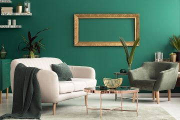 Living Room With Bright Green Wall