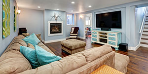 Entertainment Room With Blue Painted Walls