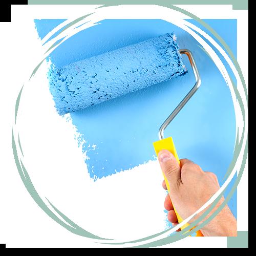paint roller with vibrant blue paint