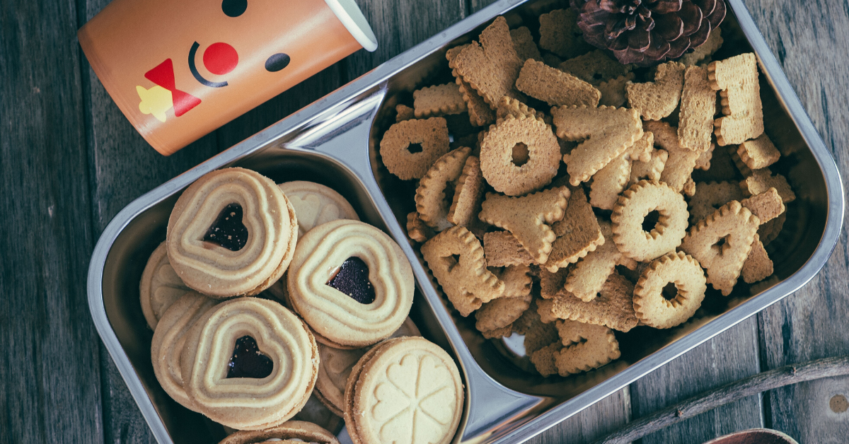 Tray of Christmas cookies and snacks