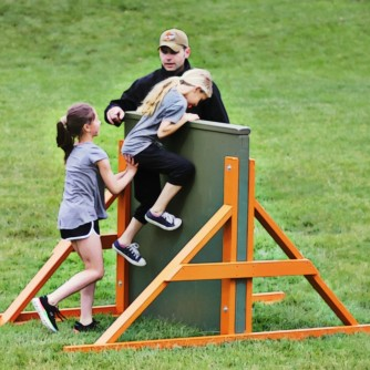 An obstacle course for kids at an after school program.
