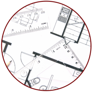 Image of a circle surrounding a ruler, a protractor, and a custom home plan.