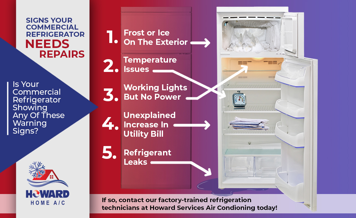 Signs Your Commercial Refrigerator Needs Repairs, including frost on the exterior of the cooling unit, and frequent refrigerant leaks or temperature fluctuations.
