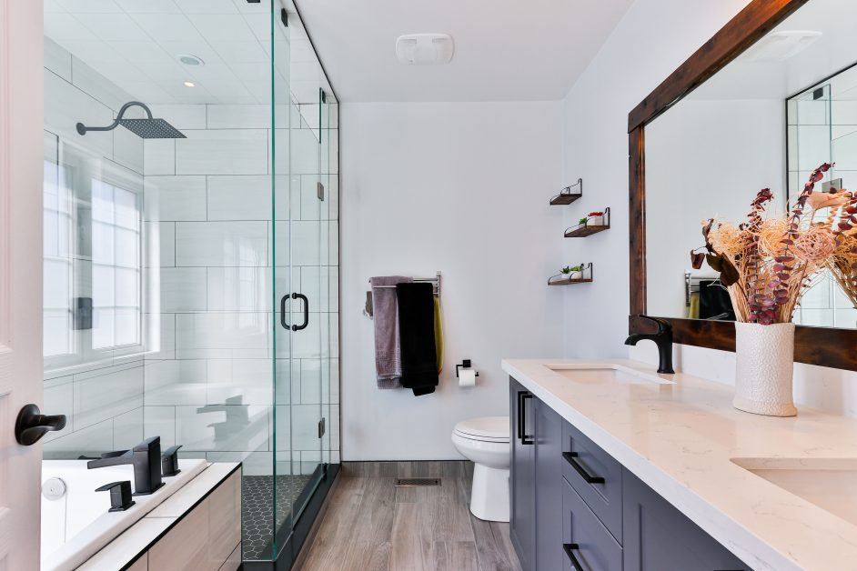An image of a remodeled bathroom interior.