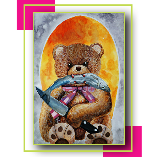 Image of student artwork showing a teddy bear with a knife