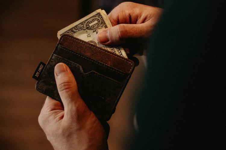 Money in wallet.