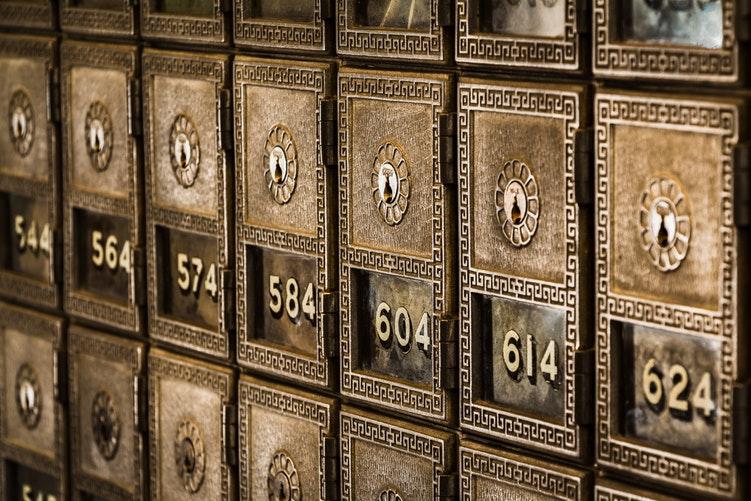 Lock boxes at a bank.
