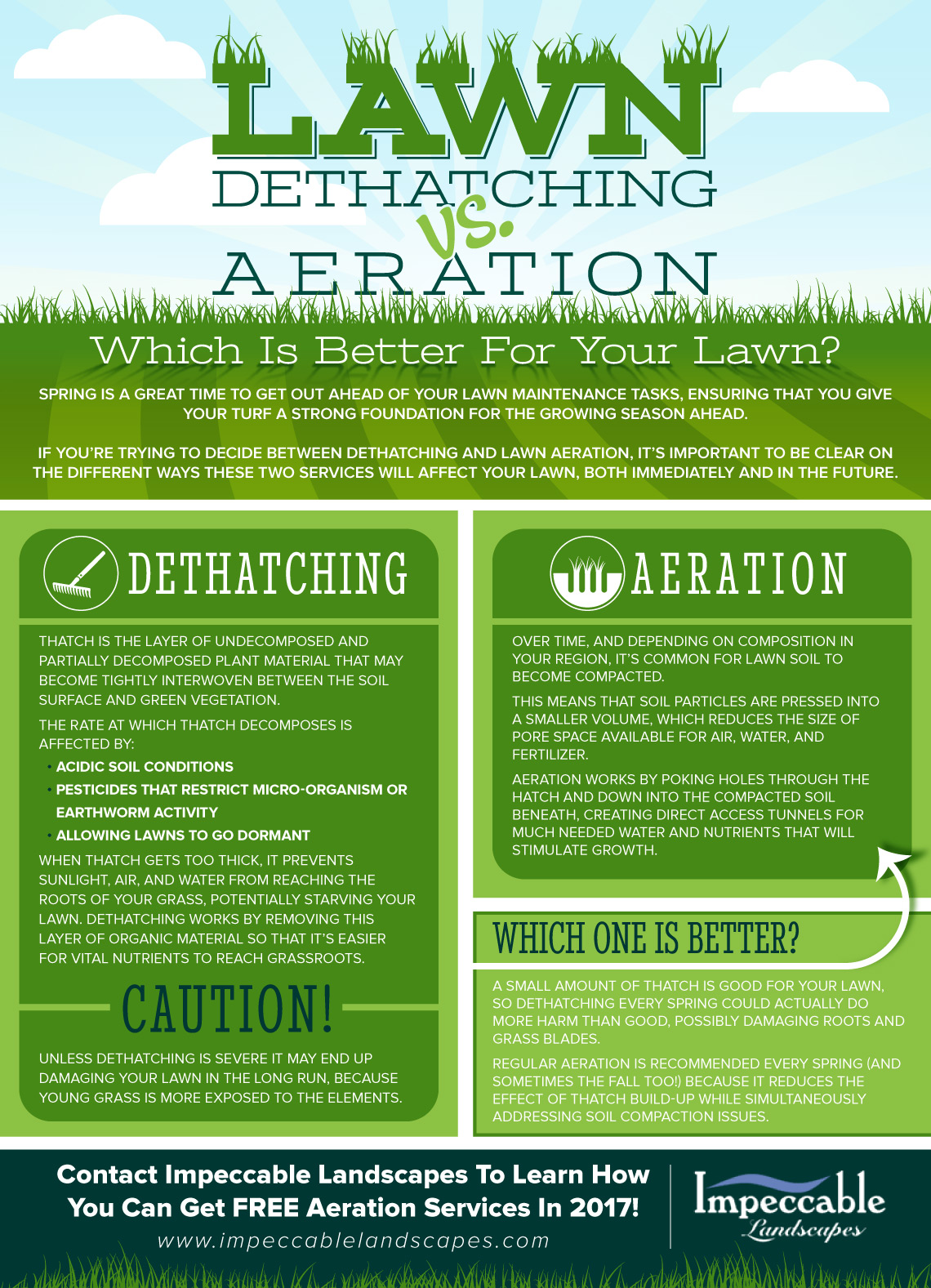 Dethatching vs lawn aeration inforgraphic from Impeccable Landscapes.