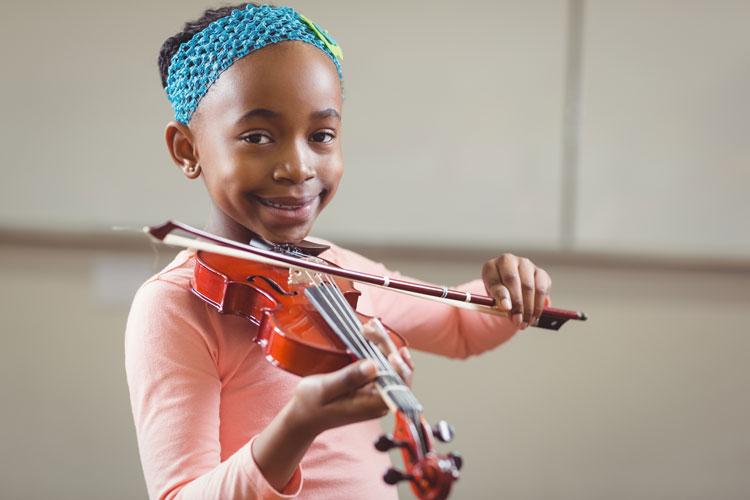 black girl playing violin