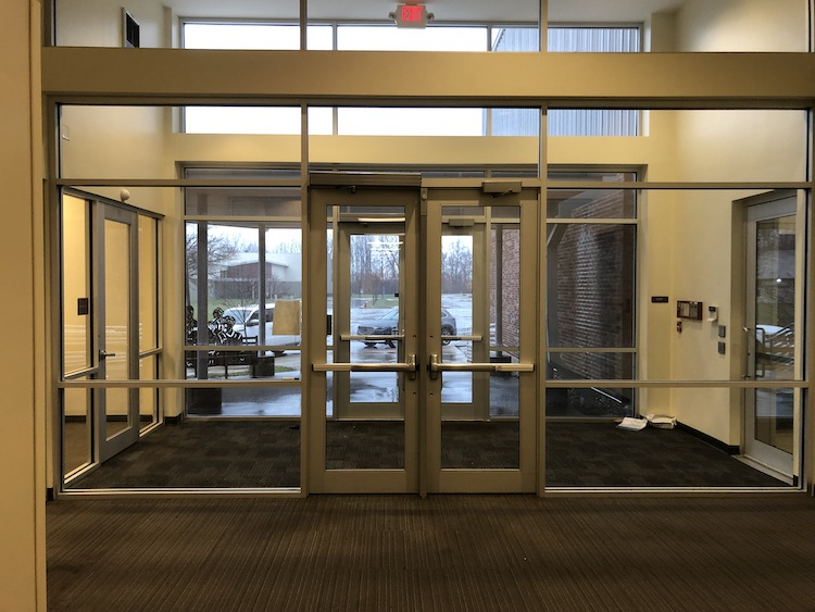 Secure, well-lit, double door entryway at Indy STEAM Academy