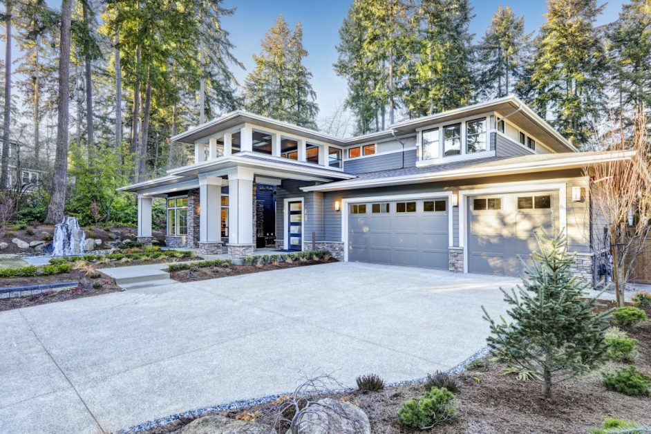 Modern Home With Grey Exterior Paint