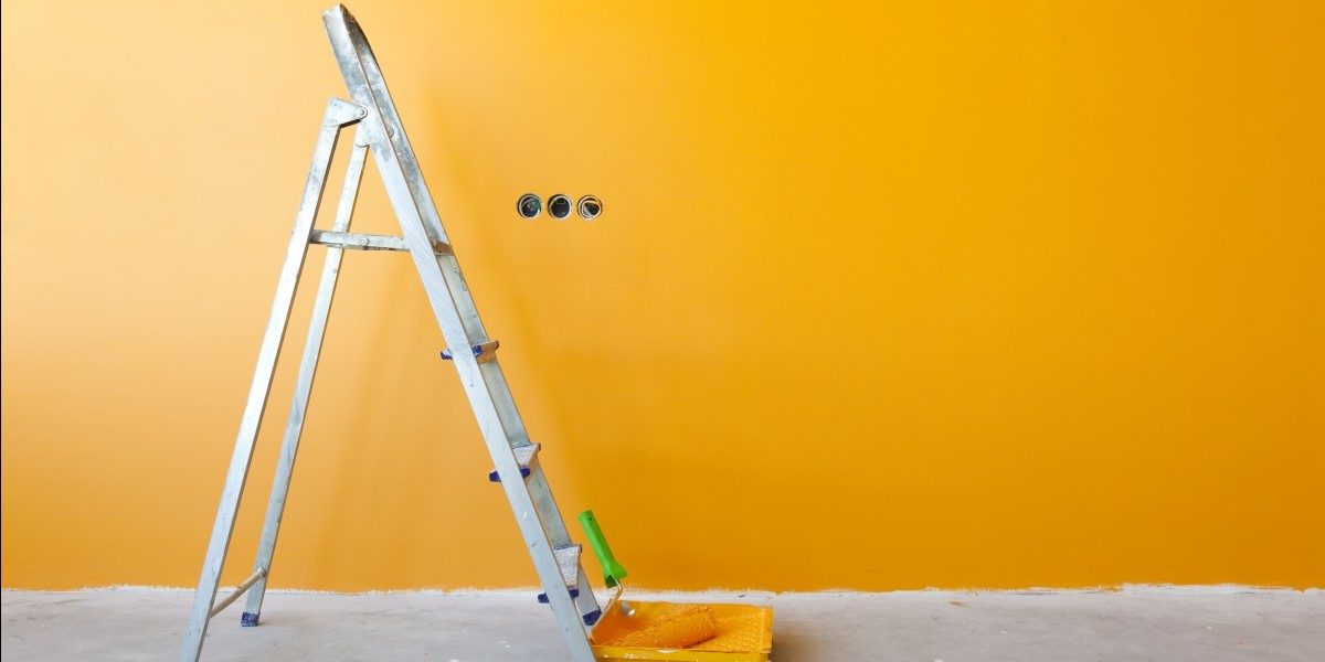Roller, Ladder, and Fresh Coat of Orange Paint