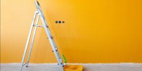 Roller, Ladder, and Fresh Coat of Orange Paint