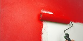 Paint Roller Painting Wall Red