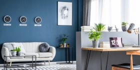 Home Office Space With Blue Walls