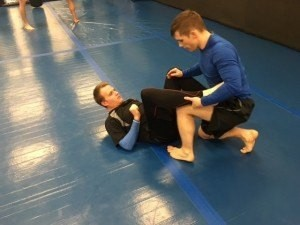 Jacob (black shirt) during a recent NoGi BJJ Class