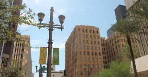 View of downtown Phoenix, Arizona, on a sunny day.