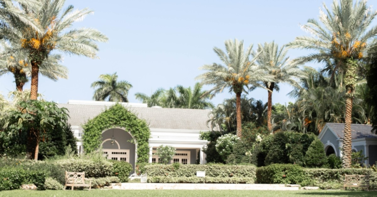 Image of a home surrounded by palm trees.