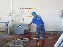 Spraying Down Floors After Duct Cleaning