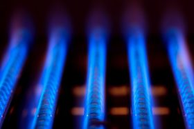 blue flames of gas furnace