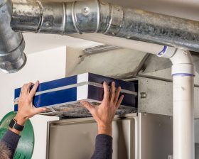 Replacing Overhead Air Filter in HVAC System
