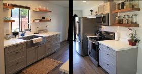 Small kitchen with stainless steel appliances and grey cabinets