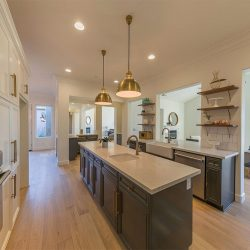 Fresno kitchen remodel with custom hardwood floors and grey cabinetry