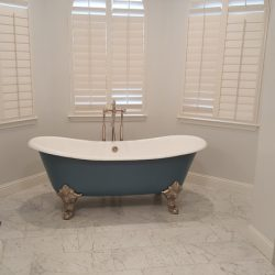 Blue clawfoot bathtub with white interior - J&J Quality Construction - Image 2