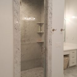 White marbled shower with glass door - J&J Quality Construction - Image 4