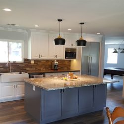Dark hardwood floors in a custom kitchen design in Clovis